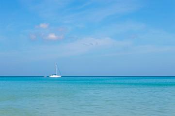 Blue sky and blue sea.