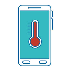 smartphone with thermometer weather application