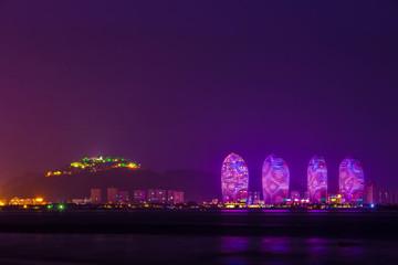 Sanya Phoenix Island President Resort Apartment at night, Hainan Sheng, Sanya Shi, Tianya Qu, China. The photo was taken using a tripod and with a long exposure.