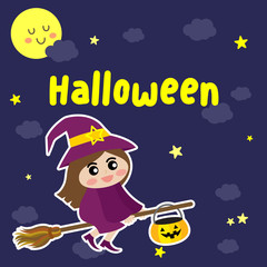 Cute Halloween design concept with witch in purple costume riding broomstick on dark blue sky background with star and moon for poster, banner, party invitation, greeting card. Vector Illustration.