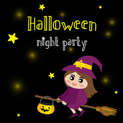 Cute Halloween night party design concept with witch wearing purple costume riding broomstick on dark sky background with star for poster, banner, party invitation, greeting card. Vector Illustration.