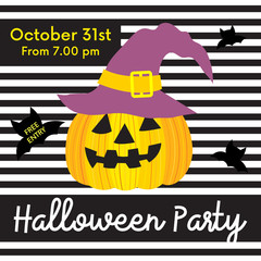 Cute Halloween party free entry on October 31st design concept with Jack O'Lantern pumpkin on striped background for poster, banner, party invitation, greeting card. Vector Illustration.