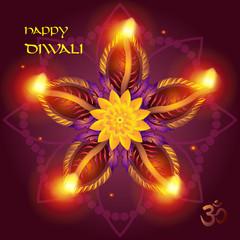 Happy Diwali lights festival poster, text, burning diya - oil lamps traditional symbol, fireworks, mandala decorative ornament, festive background, light effect Indian Holiday invitation. Vector India