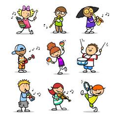 Gruppe Cartoon Kinder mit Musikinstrumenten