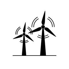 Wind turbine silhouette icon in flat style