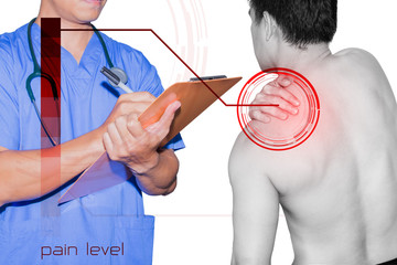 doctor and patient shoulder pain