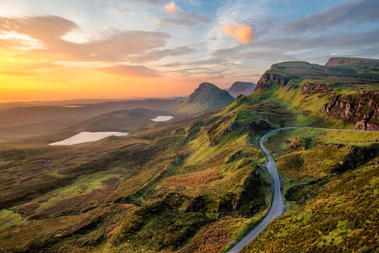 Vibrant sunrise at Quiraing on the Isle of Skye, Scotland.
