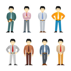 Cartoon asian man in business suit set flat style. Different poses and clothes.