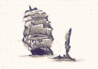 Ship on the sea or ocean art illustration