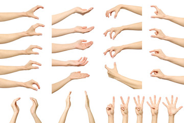 Set of woman's hand measuring invisible items