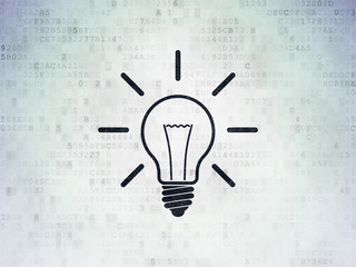 Business concept: Light Bulb on Digital Data Paper background