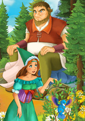 Cartoon scene with some beautiful girl in forest - illustration for children