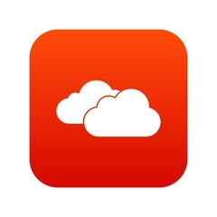 Clouds icon digital red