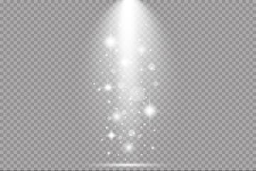 Vector scene illuminated by spotlight ray. Light effect on transparent backgr