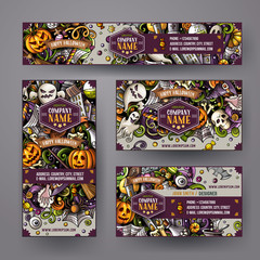 Corporate Identity vector templates set with doodles hand drawn Halloween theme
