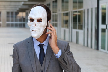 Terrifying incognito man calling by phone with space for copy