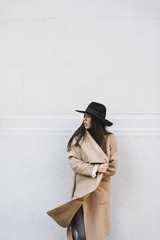 Stylish woman with autumn coat