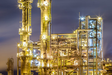 Details of an Oil refinery / petrochemical industry night shot