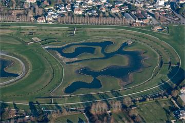 Vue aérienne de l'hippodrome de Deauville dans le Calvados en France