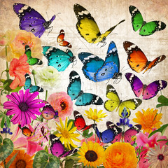 Colorful beautiful wild flowers and butterflies flying. Plants and Insects. Wildlife diversity
