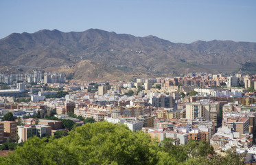 A view from the Gibralfaro Castle in Malaga, Andalusia, Spain