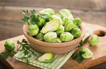 Fresh Brussel sprouts in the bowl