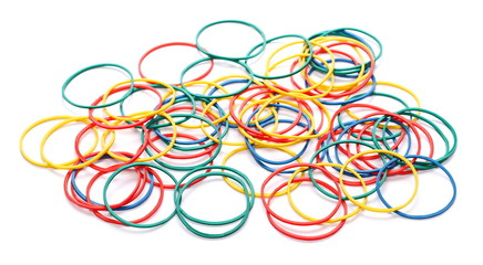 Pile colorful rubber bands isolated on white background