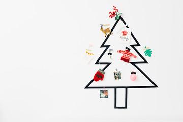 Simple DIY Christmas Tree on a White Wall