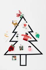 Simple DIY Christmas Tree on a White Wall