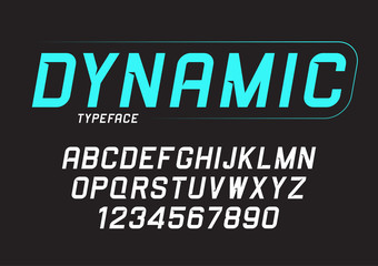 Vector dynamic bold italic font design, alphabet, typeface, typo