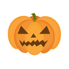 Halloween pumpkin icon flat style. Isolated on white background. Vector illustration