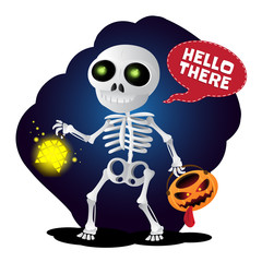 Happy cartoon skeleton walking with lantern and pumpkin head. Vector illustration to Happy Halloween isolated on white background