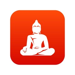 Statue of Buddha sitting in lotus pose icon digital red