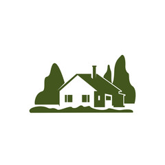 Green villa house garden trees vector icon