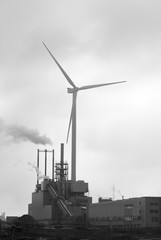 Windmill and industry in Hamburg harbour