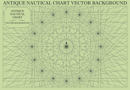 Antique Nautical Chart Map Vector Background