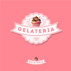 Italian ice cream logo. Pink sign. Emblem with ribbon and ice cream on a pink background.