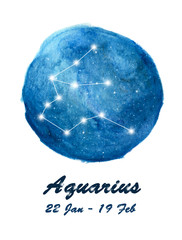 Aquarius constellation icon of zodiac sign Aquarius in cosmic stars space. Blue starry night sky inside circle background. Galaxy space design for horoscope icon, cards, posters, fortune telling.