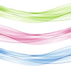 Abstract blue,pink and green waves set
