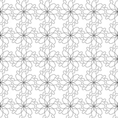 vector illustration pattern from outline geometric shapes in the shape of flowers on white background
