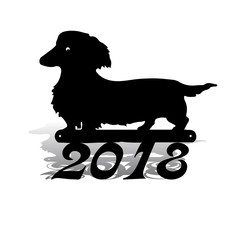 New Year's dog goes, black silhouette on a white background.
