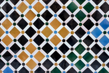 Arabic tiles from the Alhambra, Granada