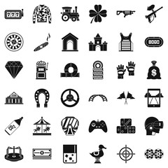 Entertainment icons set, simple style