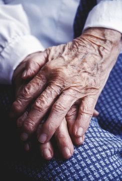 Close up of senior's hands
