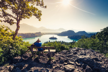 Couple travellers in Slovenia Bled lake.
