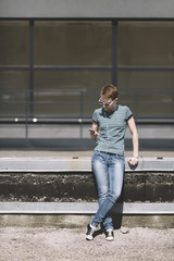 Lesbian young woman with cell-phone