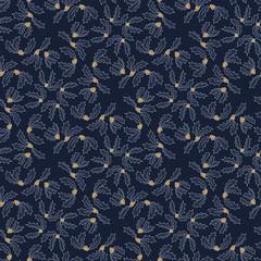 Christmas holly berries seamless pattern. Xmas vector illustration