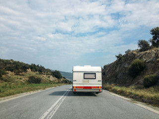 Camping trailer on the road