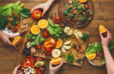 Dinner table, women eat healthy food at home kitchen