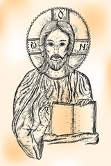 Hand-Drawn Drawing Ink - Jesus on the aged paper